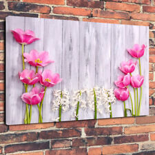 """Pink Hyacinth Tulips"" Printed Canvas Picture A1.30""x20""30mm Deep Home Decor Art"