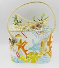 Aleja Bee Vintage Printed Beach Ocean Multicolor Purse Bag Applique Hand Made