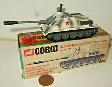 Rare Vintage Corgi 905 SU100 Russian Tank Destroyer in Original Box & shells.