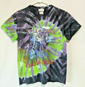 Vintage 1990's The Twilight Zone Tower Of Terror Disney Tie Dye T Shirt Small