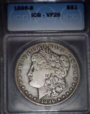 1896-S Morgan Silver Dollar ICG - VF20, Key Date, Issue Free