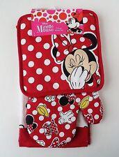 Disney - Minnie Mouse Bow Dress Glove Shoe Parts 3 Piece Kitchen Towel Set