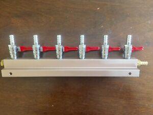 "Beer Tap Kegerator Co2 Nitrogen Gas Regulator 6  Splitter Kegerator 5/16"" Barb"