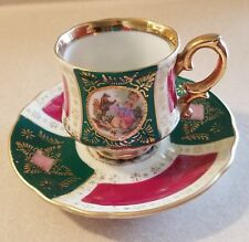 Royal Vienna Demitasse Cup & Saucer Set, Porcelain, Hand Painted, Beehive, Green