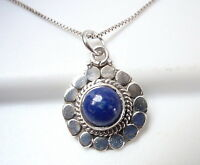 Lapis Flower 925 Sterling Silver Pendant Corona Sun Jewelry