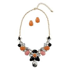 NEW Bold Smoky Gray, Pink & Orange Resin Teardrop Statement Necklace Earring Set