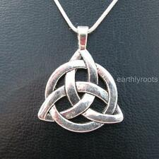 """Beautiful Celtic Triquetra Trinity knot pendant with 16""""silver snake chain"""