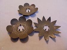 "Christmas Tree Light Reflectors, 3 Pierced Tin, Around 3"" Across Vintage"
