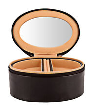 Genuine Leather Small Travel Jewelry Box Trinket Case Rings Pendants Organizer