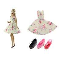 3 Pairs Princess Sandals and Floral Dress 1/6 Scale for Blythe Momoko Licca
