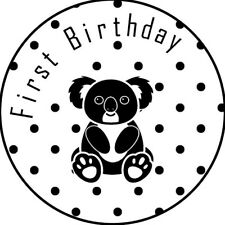 Australian Koala print first birthday sticker party favour seals x 50
