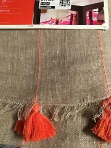 """Opalhouse Tassel Fringe Linen Table Runner 14"""" x 72"""" new Fall"""
