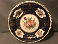 """Royal Worcester 19th Century Gadrooned Edge 12"""" Charger Tray Cobalt and Flowers"""