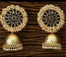 Bollywood Pearl Kundan Black jhumkas Earrings Women Bridal Wedding Jewelry