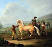 """perfect 30x30 oil painting handpainted on canvas""""Horse Market""""@15856"""