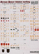 Imprimé échelle 1/35 emblèmes réservoir Division de l'allemagne 1939-45 Part 2 # 35002