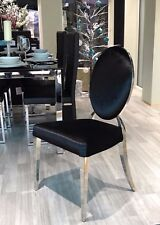 NEW GLAMOUR BLACK Velvet shabby chic dining dressing chrome oval back chair
