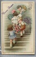 BERTIGLIA Buona Pasqua Bambini con Fiori PC Viaggiata 1941