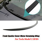 Carbon Fiber Style Trunk Spoiler Cover Water Retaining Wing For Tesla Model 3