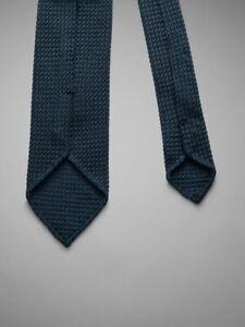 Pink shirtmaker London handrolled grenadine blue silk tie 8cm NEW like Drake's