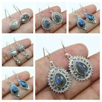 Natural Labradorite Handmade Solid 925 Sterling Silver Earrings Mothers Day Gift