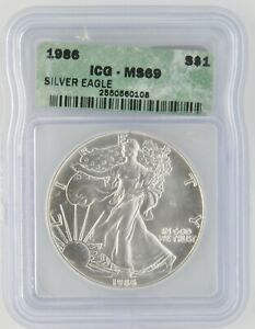 1986 S Silver American Eagle 1 OZ US Coin ICG MS69 Uncirculated First Year Date