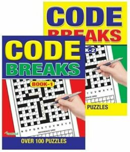Code Breaks Brain Puzzle Games-100 Puzzles each Book - A4 Books 1 & 2