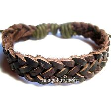 Men's Classic Woven Soft Leather Surfer Biker Characters Hip Bracelet Wristband
