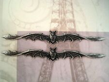 Oxidized Silver Plated Bat In Flight stampings (2) - SOFF2782 Jewelry Finding
