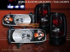 1994-2001 DODGE RAM 1500 BLACK HEADLIGHTS LED AMBER + DARK SMOKE TAIL LIGHTS