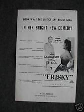 """""""Frisky"""" Gina Lollobrigida movie Press Sheet"""