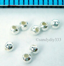 100 x ITALIAN STERLING SILVER 1.8mm SEAMLESS BEADS 0.8mm SMALL HOLE  #1641