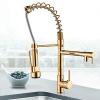 Commercial Gold Kitchen Sink Faucet Single Handle Pull Down Sprayer Mixer Tap
