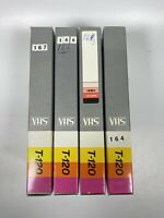 Lot Of 4 Pre-Recorded Mix Label T-120  VHS Tapes Sold As Used Blanks