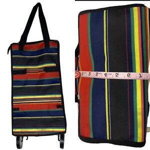 Yuhang Fiesta Stripes Collapsible Expandable Luggage Bag Cart Rolling Wheels