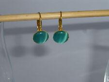 Ohrringe Brisur gold mit Cateye-Cabochon Katzenauge 12mm türkis-blau *GO150629