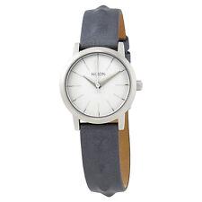 Nixon Kenzi Silver Dial Ladies Blue Studded Leather Watch A3981619
