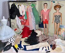 Vintage Barbie Bubble Cut & Ken Doll Big Case With Clothes Lot