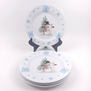 4 Christmas Village Dinner Plates Snowman Christmas Tree Blue Snowflakes 10.5""