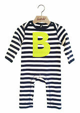 batch1 Alfabeto rayas de manga larga de niño Body Personalizado NEON LETRA B