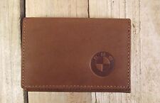 BMW logo Brown Leather wallet credit card size, licence / ID holder it126
