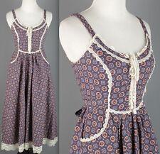 VTG 70s Navy 100% Cotton Gunne Sax Maxi Peasant Dress #1508 1970s Long 1960s 60s