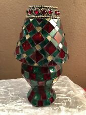MOSIAC GLASS TEA LIGHT LAMP RED GREEN GOLD CHRISTMAS 8""
