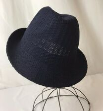 Vtg Style Fedora Hat Mens Womens Small Med Woven Fabric Pack-able Navy Dark Blue
