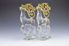 Gorham Crystal Shiny Gold Reindeer Candle Holder Pair