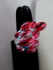 Statement Ring Size 8 Red & Black Enamel Unique Stainless Steel Never Tarnish
