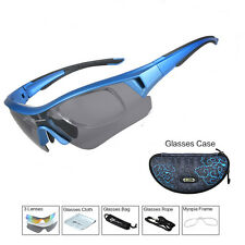 ROCKBROS Polarized Bike Bicycle Eyewear UV400 Sport Sunglasses Myopia Frame Blue
