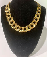 Erwin Pearl Gold Tone Chunky Chain Link Vintage Choker Necklace