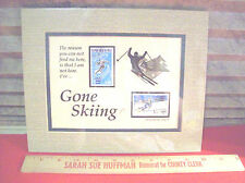 GONE SKIING with 1976 Stamps Double Mat Art~ SIGNED Jack Rabbit Type Durango CO