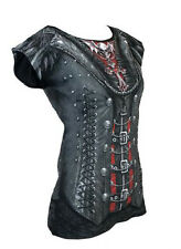 Spiral Gothique Queen All Over Cap Sleeve Printed Top Goth Steam Punk Rock Large - (uk 12-14)